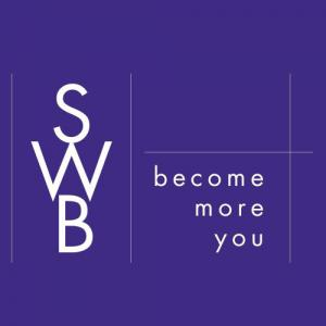 Square purple box with white lettering that says the letters SWB followed by the text Become More You
