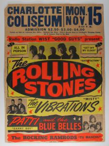 A $10,000 reward is offered for this Rolling Stones Charlotte Coliseum 11/15/65 Concert Poster