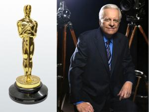 The late TCM host Robert Osborne and the 1936 Oscar® statuette awarded to art director Richard Day for his work on the 1935 film The Dark Angel. Oscar® provenance: The Robert Osborne Collection. Estimate: $70,000-$100,000