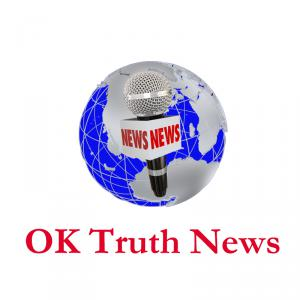 OK TRUTH NEWS Logo with a globe in the background and a mic in the center