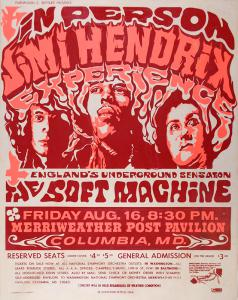 A $10,000 Reward Is Offered For This Jimi Hendrix Merriweather Post Pavilion 8/16/1968 Concert Poster