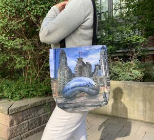 Woman holding wearing a Chicago Tote Bag that looks amazing!