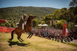 Man from Snowy River starts runners in the Snowy Mountains Ultra Trail Run