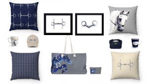 Pillows, Mugs, Art Prints, Tote Bags and Hats Printed  with Horses and Equestrian Tack in Blue and Neutral Color Combinations